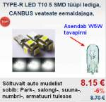 TYPE-R LED T10 5 SMD type led, CANBUS with error report remover, white 2pc